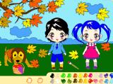 Мальчик и девочка на прогулке
