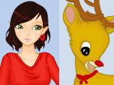 Девушка-эльфийка и олененок Рудольф
