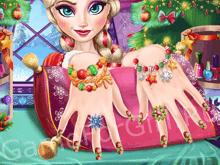 Новогодний маникюр Эльзы