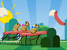 Pug Riders — Мопсы на сосисках