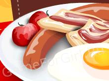 Вкусный завтрак: Яичница с беконом